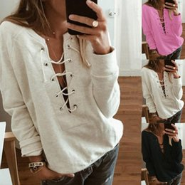 Cross Sweatshirt Hoodie Australia - Womens Solid Color Long Sleeve Hoodies Criss Cross Lace Up Drawstring Bandage Sweatshirt Pullover Deep V-Neck Hollow Out Tracksu