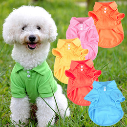 Bulk springs online shopping - Bulk Colors Puppy Dog Cat Summer Solid Color Buttoned Polo Shirt Pet Clothes Costume T Shirt Pet Supplies Dog Accessories