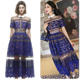 beautiful ladies clothes Canada - Designer Dress High-end High-quality Clothing Beautiful Woman Full Of Sheer Embroidered Lace Stitching Ladies Formal Wear Long Dress