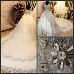 $enCountryForm.capitalKeyWord Australia - 2019 New Sexy Luxury Crystal Wedding Dresses Lace V Neck Sheer Strap SWAROVSKI Bridal Gowns Cathedral Train Free Petticoat vestidos de novia