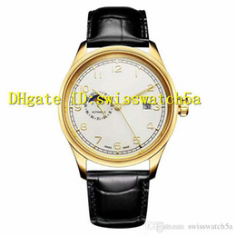 Mechanical Moonphase online shopping - New Luxury Men Watch Swiss Automatic Movement Sapphire Crystal Moonphase Dial Yellow Gold L Steel Case Leather Strap