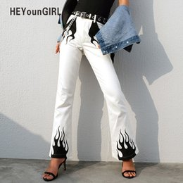 White Flannel Trousers Australia - Heyoungirl White Casual Wide Leg Pants Women Elegant High Waist Flared Trousers Fire Print Bell Bottom Pants Capris Streetwear Y19041902