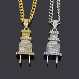 Gold Plates Electric Australia - Men's Iced Bling Bling Electric Plug Pendant Necklace Gold Silver Color Charm Micro Pave Full Rhinestone Hip Hop Jewelry Free Shipping