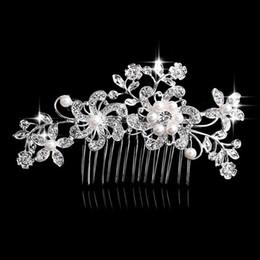 Pearl Floral Wedding Hair Combs Australia - Charm Flower Rhinestone Hair Slide Floral Crystal Bridal Head Piece Pearls Wedding Hair Comb For Bridesmaid Jewelry Accessories