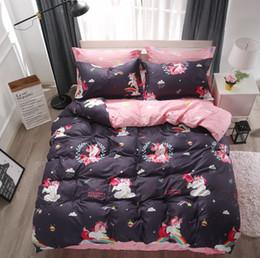Kids Cartoon Bedding Set King Size Australia - Cartoon 3 4pcs Rainbow Unicorn Duvet Cover Bedding Set Twin Queen King Size Teens Girls Boys Kids Bed Linen Bed Sheet Pillowcase
