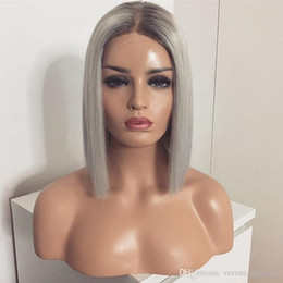 $enCountryForm.capitalKeyWord Australia - New Sexy Glueless Sliver Grey Bob Wig Ombre Synthetic Hair Lace Front Wigs with Black Root Straight Heat Resistant Fiber for Women
