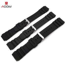 Dive Watches For Men Australia - AOOW Rubber Watchbands for 18 20 22mm Men Black Sport Diving Watch Strap Band Metal Buckle Watch Accessories