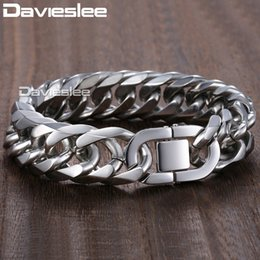 Heavy curb silver bracelet online shopping - Davieslee mm Heavy Men s Bracelet Curb Cuban Link Silver Color L Stainless Steel Wristband Male Jewelry DLHB287