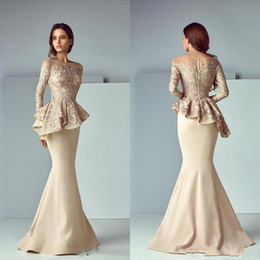Elegant Champagne Lace Peplum Wear Prom Dresses 2019 Sheer Neck Long Sleeve Dubai Arabic Mermaid Long Evening Formal Gowns 666630 on Sale
