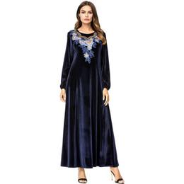 d13c3b033ba4 Babalet Women s Elegant Muslim Dress Islamic Dubai Dress Floral Embroidered  Velvet Long Sleeve Maxi Arab Abaya Loose Casual EID