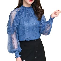 $enCountryForm.capitalKeyWord UK - 2019 spring Women Blouses Chiffon Shirt transparent Long Sleeves Lace hollow out flower embroidery Female Tops Blusa 603J3