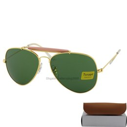 Glasses Sun Protection Canada - 5pcs Fashion Txrppr Men Women Designer Pilot Sunglasses Sun Glasses Gold Metal Frame Green Glass Lenses 62mm UV400 Protection Boxes Case