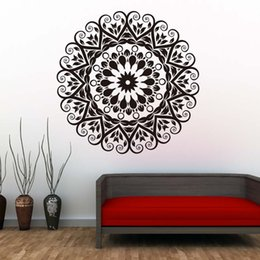 pattern decor NZ - 1 Pcs Indian Pattern Mandalas Wall Decals Removable PVC Art Wall Stickers Waterproof Art Mural For Living Room Modern Home Decor