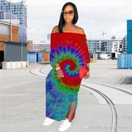 $enCountryForm.capitalKeyWord Australia - Women Plus Size Dresses Designer Long Sleeve Skirts Off Shoulder Maxi Dresses Tie Dye Loose Pencil Dress Summer Clothing S-3XL HOT