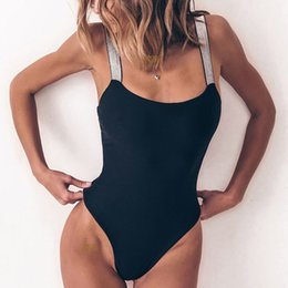 $enCountryForm.capitalKeyWord Australia - 2019 New Black Tight Swimsuits Women Sexy Siamese solid color sequins wide shoulder strap Swimsuit Summer Beach Bathing Suit
