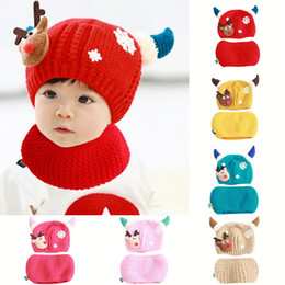 scarf year old 2019 - SHUJIN Hot Sale Baby Girls Boys Winter Hat Scarf Christmas Earflap Hood Scarves Caps (1-2 years old) 2019 New Fashion ch