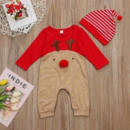 baby boy rompers christmas Australia - 2Pcs Newborn Baby Boys Girl Christmas Rompers Long Sleeve Deer Romper Jumpsuit Hat Sleepwear Party Costume Baby Clothes