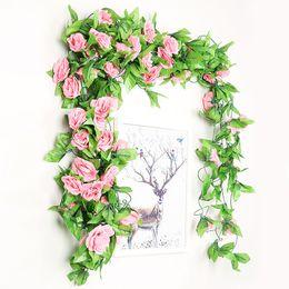 $enCountryForm.capitalKeyWord Australia - 13 Heads Flower Roses Ivy Vine with Green Leaves For Home Wedding Decoration Fake leaf diy Hanging Garland Artificial Flowers