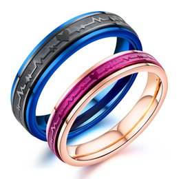 $enCountryForm.capitalKeyWord Australia - Fashion personality men and women stainless steel ECG ring Luxury designer jewelry couple love commemorative ring 3-GJ669