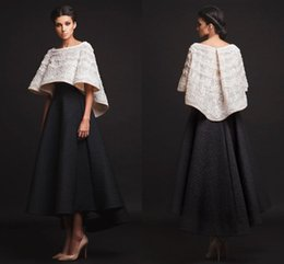 $enCountryForm.capitalKeyWord Australia - 2019 New Black White Krikor Jabotian Evening Dresses Two Pieces Ankle Length Half Sleeves Prom Dresses With Jacket Formal Dresses Real Image