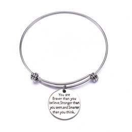 Gift Idea Wholesale Australia - Hot Birthday Gifts for Women Girls Stainless Steel Inspirational Charm Bracelets Jewelry Set Motivational Expendable Bangles Ideas
