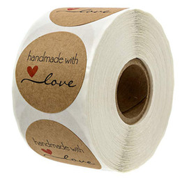 Wholesale 500pcs Roll Handmade wtih Love Red Heart Thank you Round Paper Labels Seal Sticker DIY Gift Sticker