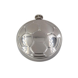 Wholesale designer footballs for sale – custom Portable Round Stainless Steel Football Hip Flask Mirror Design Round Wine Hip Flask Men Pocket Wine Flagon With Funnel DH1203
