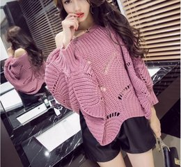 Wholesale one size sweater for sale - Group buy Eyelet Detail Scallop Trim Lantern Sleeve Sweater Slash neck Autumn Pullovers Oversized Loose Sweater New One Size