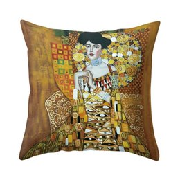 yellow pillowcases UK - Vintage Khaki Imagining Figure Painting Pillow Case with Invisible Zipper Home Retro Pillowcase for Home Living Room Washable