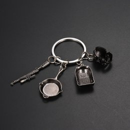 Discount backpack key chain - 1pcs Fashion MiNi Key Chains Game PUBG Level 3 Helmet Backpack Saucepan Keychain Playerunknown Battlefield Cosplay Props