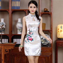 Chinese traditional dressing online shopping - Summer White Mini Cheongsam Traditional Chinese Style Womens Rayon Dress Elegant Slim Qipao Novelty Vestidos designer clothes