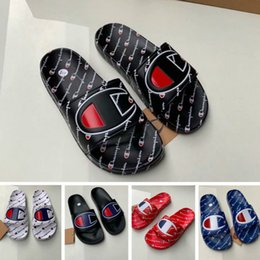 8e37a4357751 Womens Champions Letter Sandal Men Summer Slipper Slip on Flip Flops Wedge  Platform Sandals Beach Water Rain Mules Shoes 35-44 Sizes A42508