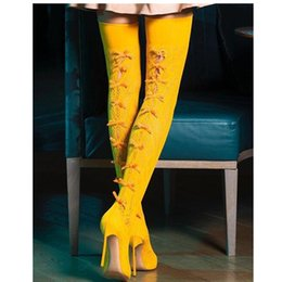 $enCountryForm.capitalKeyWord Australia - Fashion Gladiator Knee High Sandals Women Sexy Red Black Yellow Lace Cut Out Bowknot Over The Knee Boots Blade High Heels