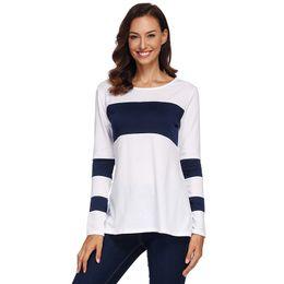 Basic Tops NZ - Autumn Women T-shirt Color Block Splicing Design Round Neck Long Sleeve Simple Casual Basic Tee Tops Elegant Ladies Tshirt White