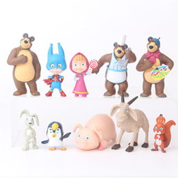 Discount masha doll toy 10 pieces set Russia Masha Toy Figure Doll Home Decoration Masse Toys Bear Masshe Action Figure Creative Bear Doll Gift