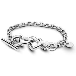 Silver Knots Bracelet Australia - Authentic 925 Sterling Silver Bracelet for Women Knotted Heart Bracelet fit Lady fine Jewelry