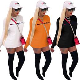 T Shirt Dress Winter Australia - Women girls Champions Letter Dress Brand Long t-shirts Hoodie Dresses Autumn Fall winter bas Skirt oversize Sweatshirts tops tee sweater hot