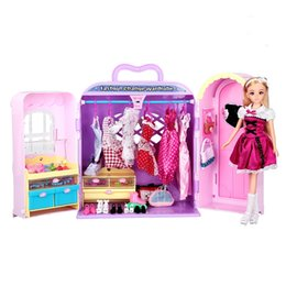 $enCountryForm.capitalKeyWord UK - Fashion princess wardrobe doll dream chest toy Play house doll Clothes shoes toys More than 30 kinds of accessories kids gift
