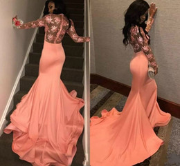 China fashion blaCk laCe dress online shopping - Sexy See Though Prom Dresses Long Sleeves Mermaid Lace Arabic Special Evening Evening Gowns Fashion robes de bal Party Dress From China