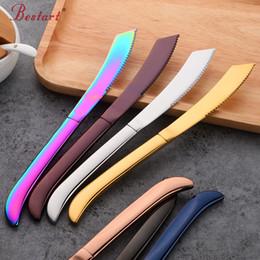 Vente en gros 7pcs arc-en-ciel coloré couteau à steak Sharp Set ensemble en acier inoxydable poli cuisine Vaisselle Restaurant couverts Couteau Western