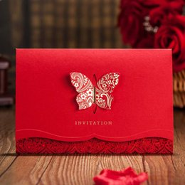 China 1PCS Laser Cut Wedding Invitations with Butterfly Red Invite Cards for Engagement Graduation Bridal Shower cheap butterfly cut cards suppliers