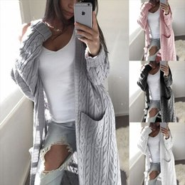 women office clothing Australia - 2019 Autumn Winter Long Style Cardigan Women Sweater Full Sleeve V-Neck Solid Two Pockets Twist Pattern Office Lady Warm Clothes SH190929