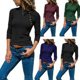 Wholesale fashion oblique sweaters online – oversize Women Spring Autumn Sweater Oblique Collar Slim Fit Knitwear Long Sleeves Colours Tshirt Simple Fashion Popular gl D1