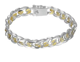 $enCountryForm.capitalKeyWord Australia - 925 silver bracelets for men Stamped 925 and golden link chains square clasp women bracelet bangle jewelry bouddhiste GB647
