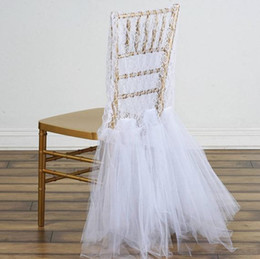 Vintage White Chair Australia - Custom Made Lace Tulle Wedding Chair Covers Beautiful Cheap Wedding Party Decorations Vintage Chair Sashes Supplies C06