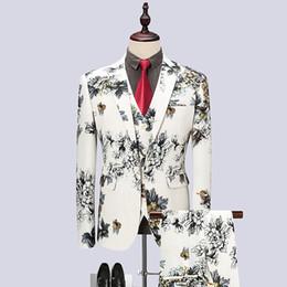 Large Lapel Suits Australia - 3 piece set printing suit male 2019 new black white groom wedding dress suit large size banquet party dress men's brand clothing