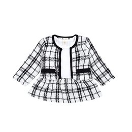 Girls Plaid Clothing Sets Coat Mini Princess Dress Two-piece Set Kids Clothes Girls Kids Clothing Sets 07