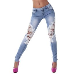 skinny trousers NZ - Jeans for Women Denim Pants Women Lace Stitching low waist Jeans Skinny Pencil Pants Denim Trousers Stretch Ripped