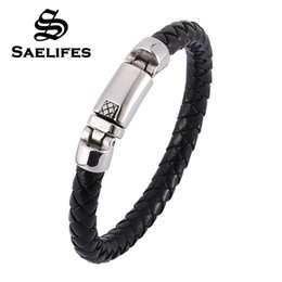 spring ring clasps NZ - Fashion Men's 8mm Braided Leather Bracelet Personality Stainless Steel Spring Clasp Bangles Jewelry Pulseras Hombre PB0365