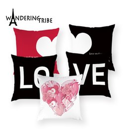 red love pillow Australia - Love Red Pillow Case Valentine's Day Present Cushion Cover Polyester Lips One Arrow Through Heart Home Decor Bed Pillows Covers
